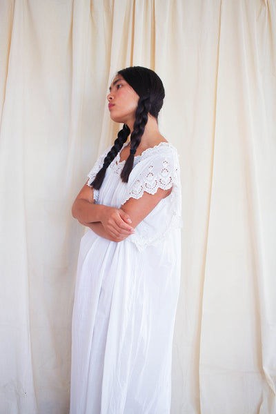 Victorian White Cotton Applique Trim Night Dress