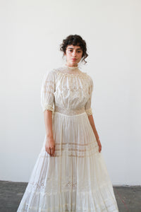 Edwardian Tea Embroidered Eyelet Lawn Dress