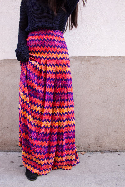 1970s Missoni Multicolored Chevron Maxi Skirt