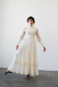 1960s Cream Gunne Sax Lace Maxi Dress