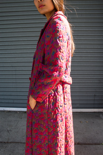 1950s Brocade Fuchsia Long Coat