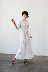 Edwardian Linen Crochet Knit Lawn Dress
