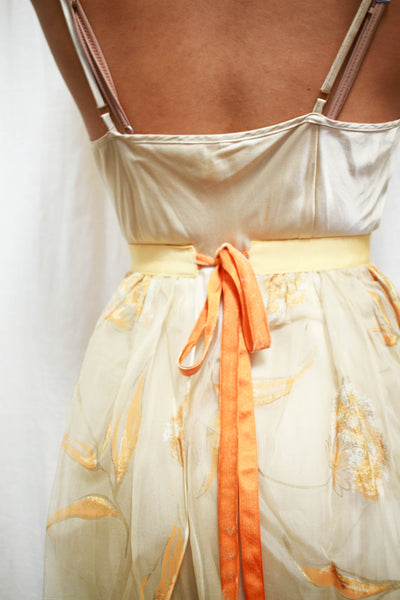 1950s Sheer Floral Embroidered Apron Skirt