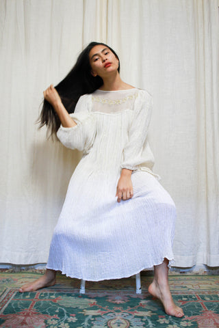 1960s White Gauzy Corchet Boho Maxi Dress