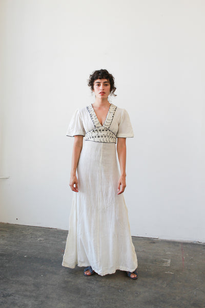 1970s Deadstock Indian Gauzy Embroidered Flutter Dress
