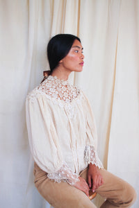 Antique Victorian Swiss Dot Lace Collared Blouse