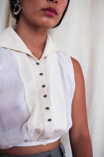 1900s Ribbed Ecru Cotton Sleeveless Blouse