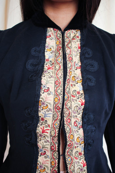 Victorian Soutache Embroidered Wool Bodice