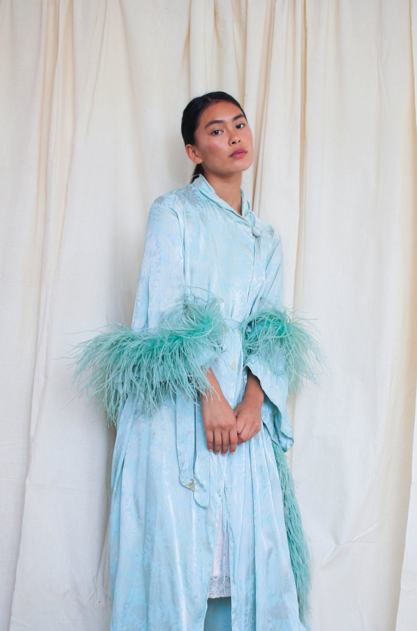 1920s Aqua Satin Embossed Cocoon Robe