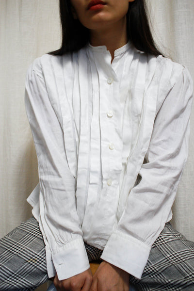 Edwardian White Linen Pleated Blouse