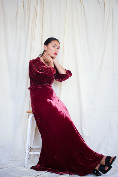 1930s Wine Velvet Art Deco Bias Cut Gown
