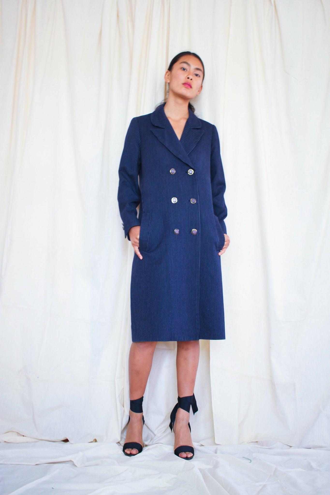 1980s Navy Pinstripe Wool Blazer Dress