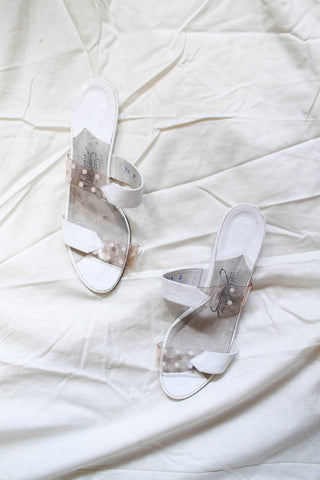 1970s Clear Vinyl Polka Dot Sandals | 37 1/2