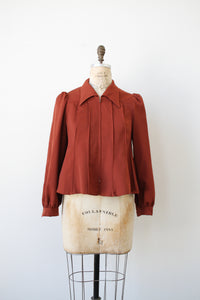 1970s Rust Pleated Peplum Jacket