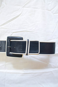 1970s Yves Saint Laurent Leather Navy Belt