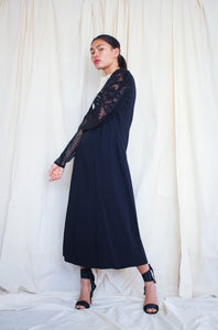 1930s Black Crepe Silk Lace Yolk Dress
