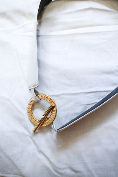 1990s White Leather Ralph Lauren Belt