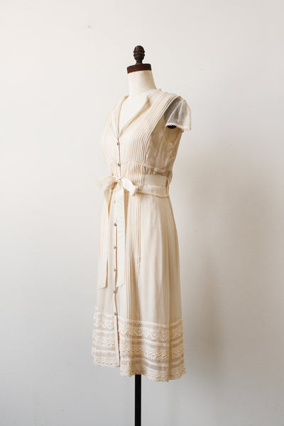 1990s Ecru Silk Chiffon Button Up Dress