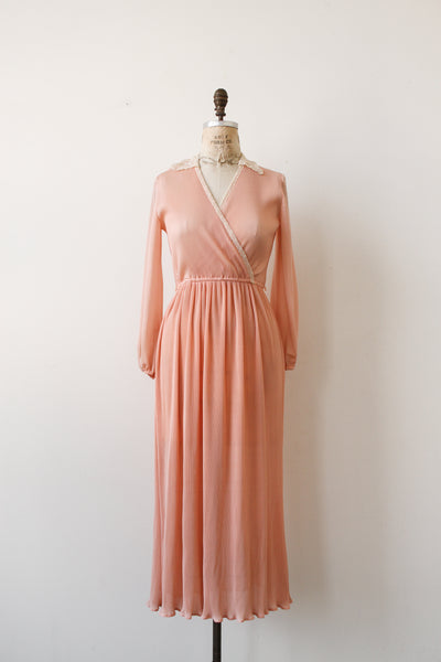 1970s Blush Pink Pleated Dress