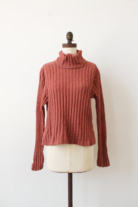 1990s Salmon Knit Ribbed Sweater