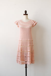 1960s Sweetheart Pink Crochet Knit Dress