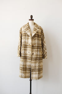 1950s Custard Mohair Plaid Coat