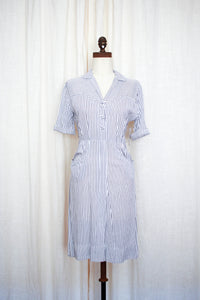 1950s Navy Striped Linen Dress