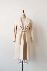 1960s Cream Wool Structured Long Coat