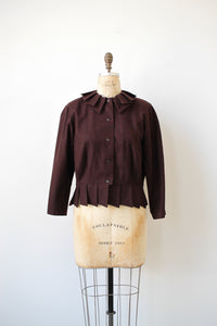1980s Chocolate Wool Pleated Blouse
