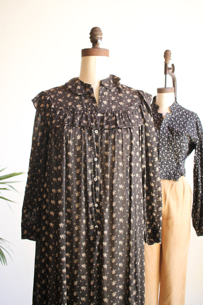 Antique Rare Calico Print Ruffled Dress