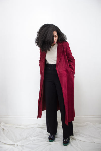1970s Plum Suede Trench Coat