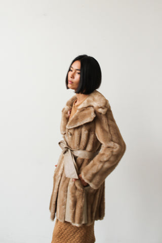 1960s Faux Fur Leather Coat