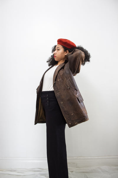 1940s German Unisex Leather Coat