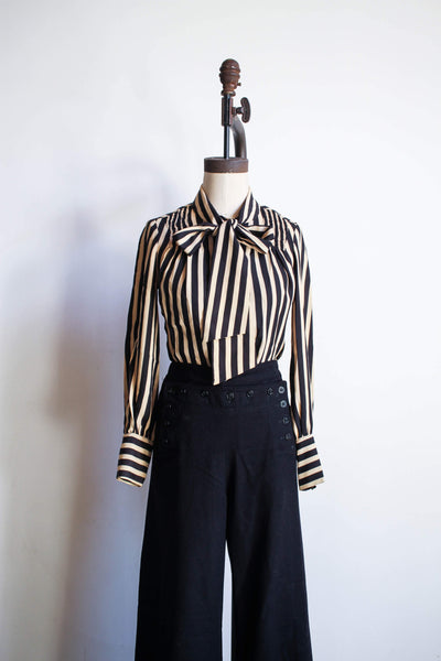 1940s Striped Rayon Pussy Bow Blouse