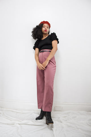 1970s Blush Polyester Trousers
