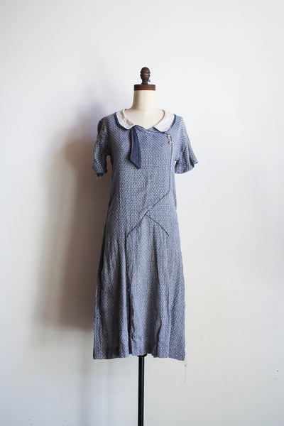 1920s Antique Woven Knit Day Dress
