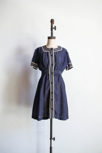 1910s Edwardian Wool Navy Bathing Suit