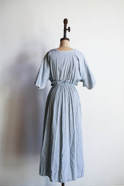 1910s Antique Cotton Striped Ticking Dress