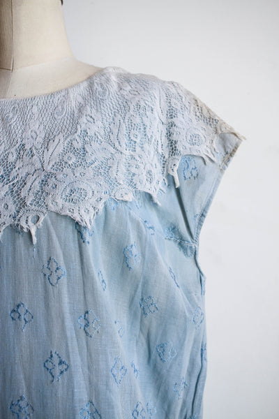 1910s Chambray Motif Embroidered Sack Dress