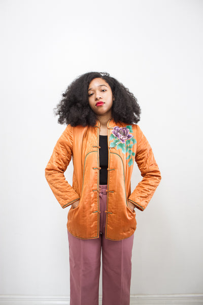 1970s Rust Orange Hand-Painted Quilted Jacket