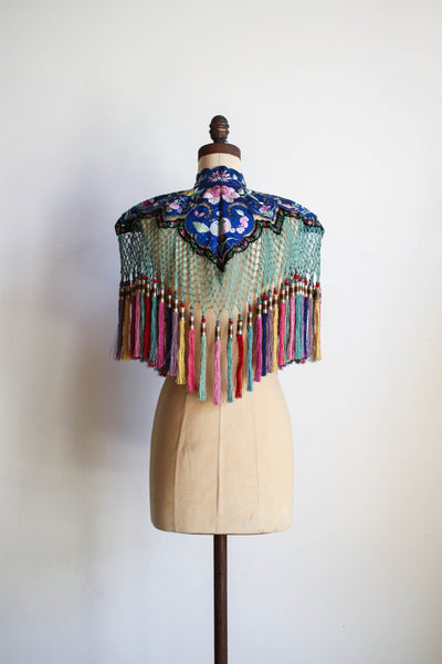 19th Century Rare Qing Dynasty Chinese Silk Embroidered Capelet