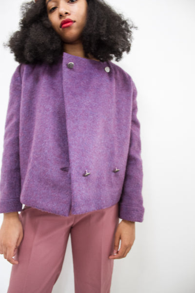 1960s Violet Mohair Double Breasted Jacket