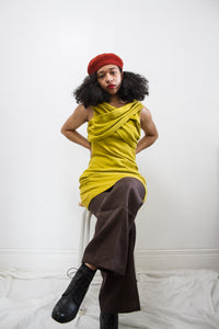 1980s Chartreuse Knit Criss Cross Tunic
