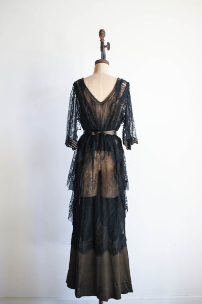1930s Silk Lace Walking Gown