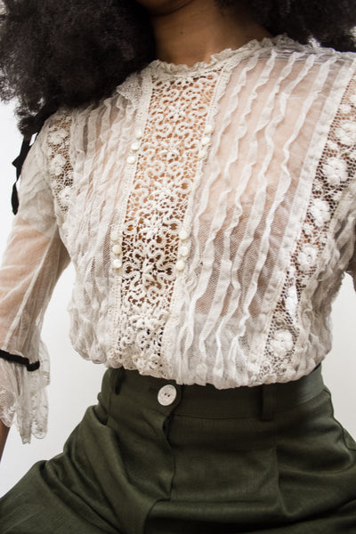 Edwardian Mixed Lace Net Sheer Blouse