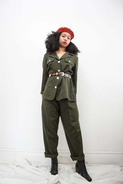 1970s Olive Green Trouser Set