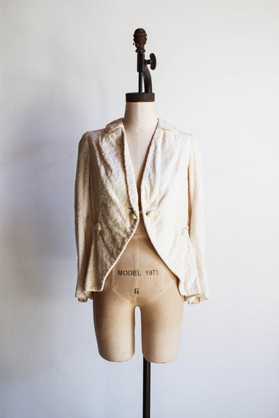 1900s Ecru Brocade Riding Habit Jacket