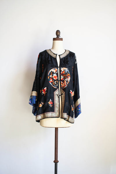 Antique 1910s Silk Jacquard Embroidered Chinese Jacket