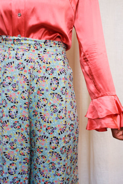 1940s Rare Cold Rayon Fan Print Lounge Pants