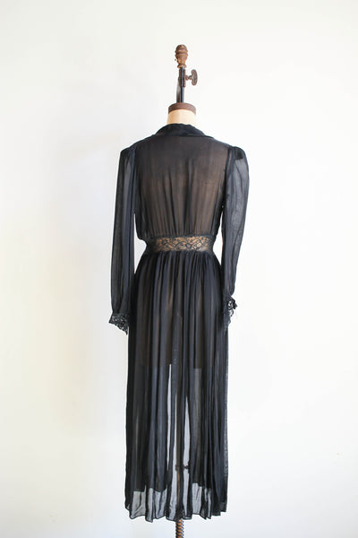 1940s Sheer Black Lace Long Bed Jacket